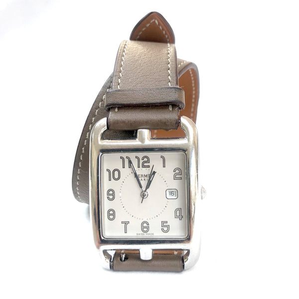 HERMÈS silver automatic Cape Cod PM double taupe leather strap watch
