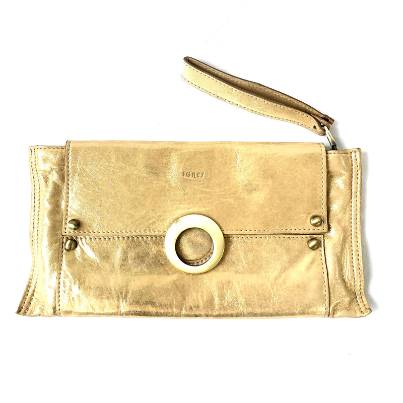 IGNES gold leather clutch