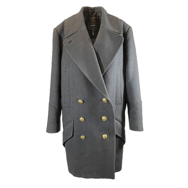 Isabel Marant dark grey wool double-breasted coat with gold buttons
