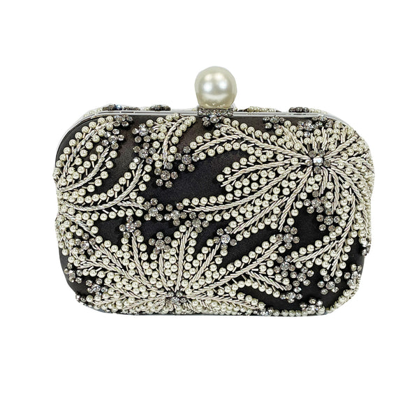 second-hand Jimmy Choo black crystal and pearl embellished silk clutch