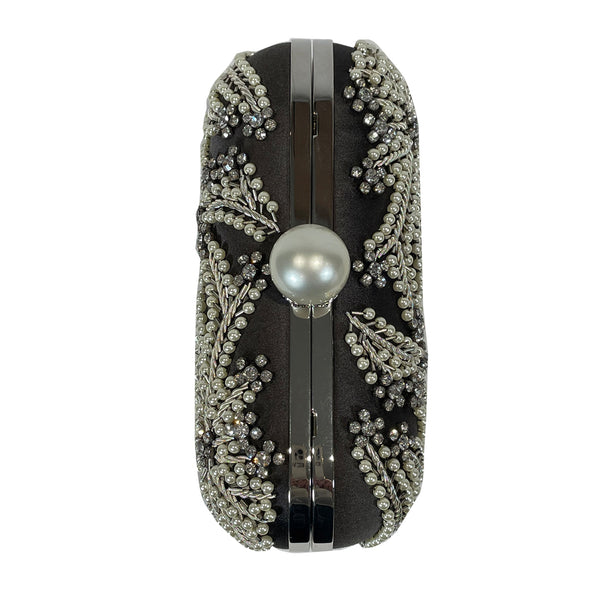 Jimmy Choo black crystal and pearl embellished silk clutch