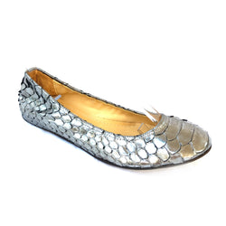 LANVIN silver leather ballerinas