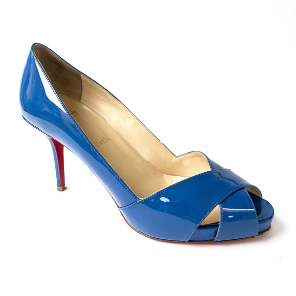 CHRISTIAN LOUBOUTIN royal blue patent leather heels