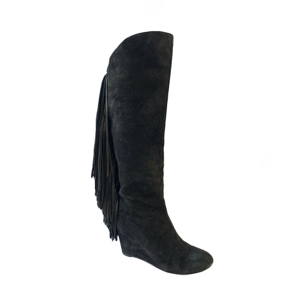 Christian Louboutin black suede fringe boots