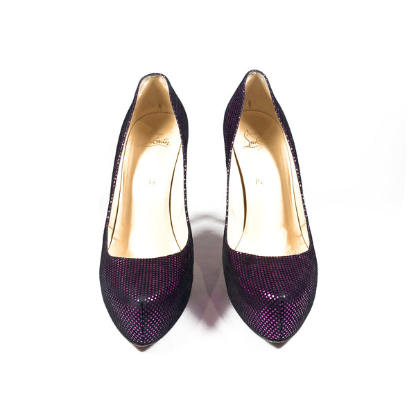 CHRISTIAN LOUBOUTIN purple metallic heels | size 39.5