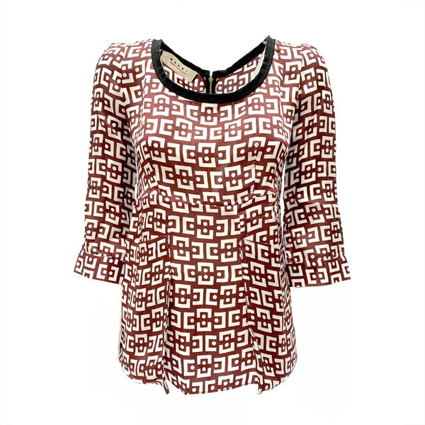 Marni viscose burgundy print top | size IT38