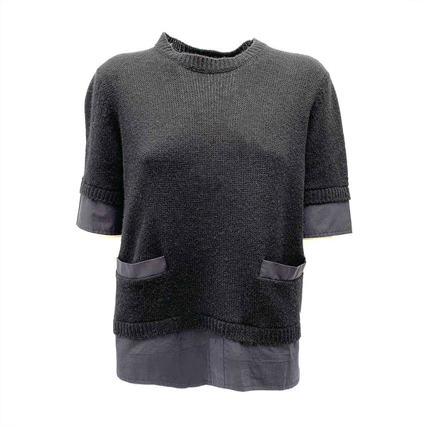 Marni short sleeve cashmere black and navy tap