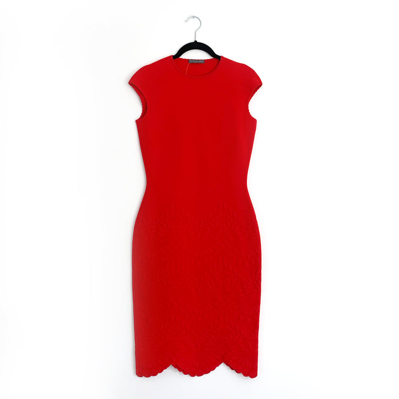 ALEXANDER MCQUEEN red fitted elastic dress