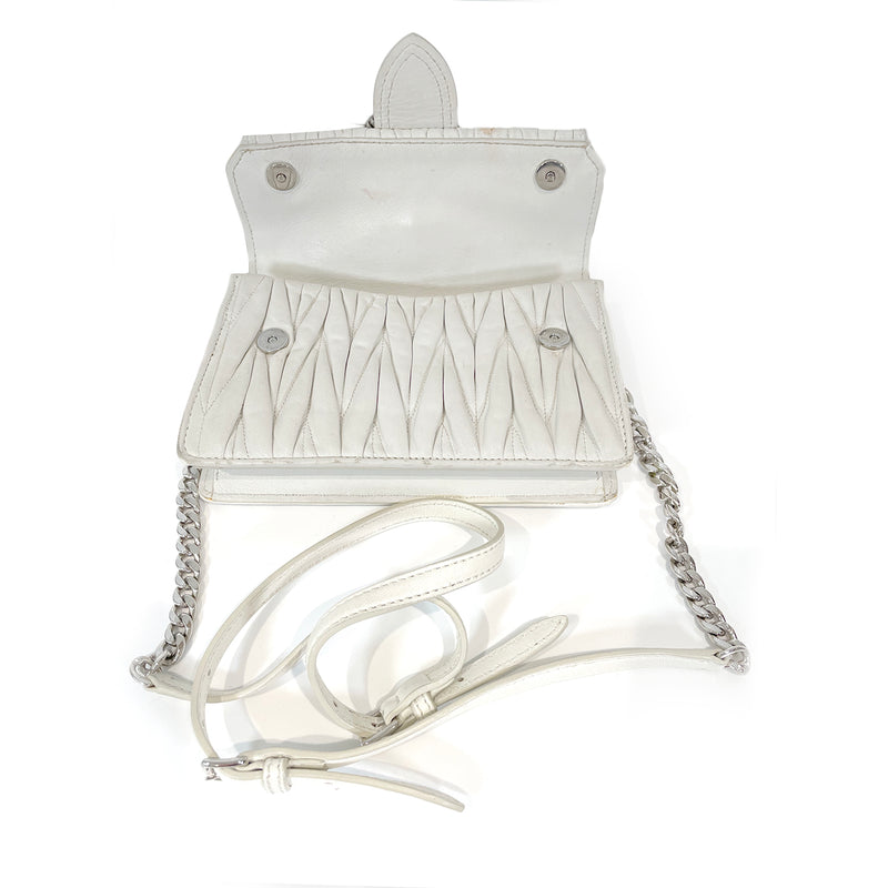 pre-owned Miu Miu white leather handbag with crystal buckle