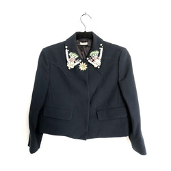 MIU MIU navy embellished jacket