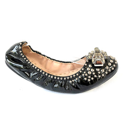 MIU MIU black patent leather ballerinas with studs and crystal details