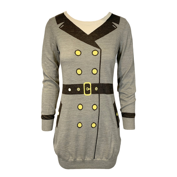 MOSCHINO brown and beige wool mini dress loop generation second hand clothes uk