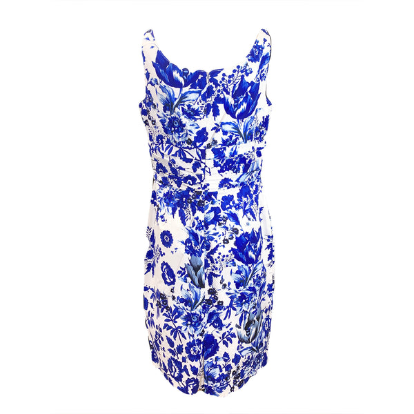 Oscar de la Renta blue flower print dress