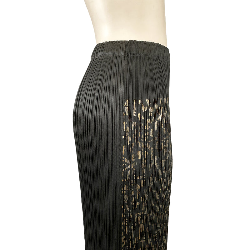 Pleats Please Issey Miyake Gold and Black Skirt | size large
