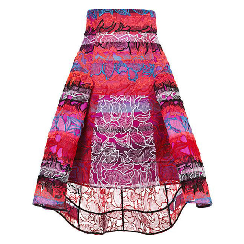 PETER PILOTTO red radial orchid lace skirt