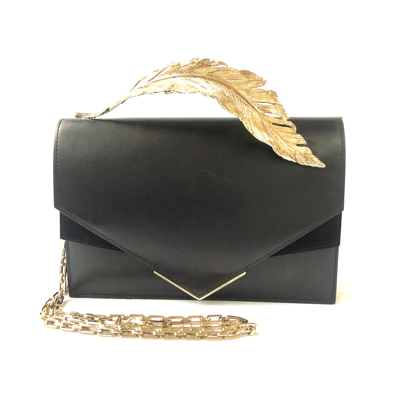 RALPH & RUSSO black leather handbag with gold leaf