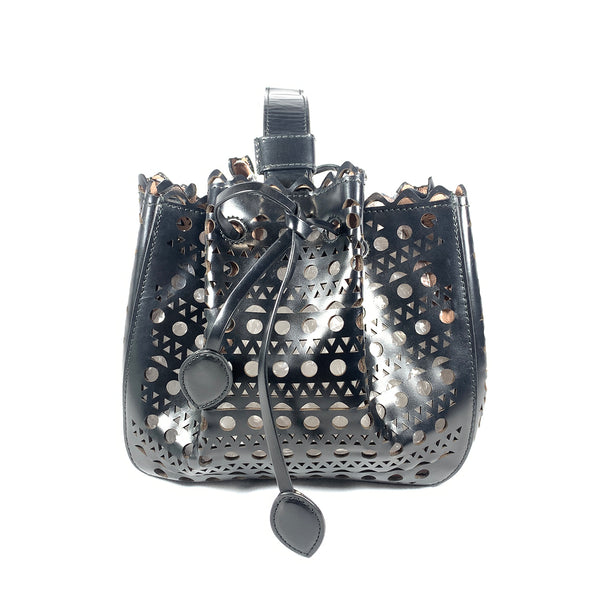 second hand ALAÏA black leather laser cut basket handbag with an inside mirror
