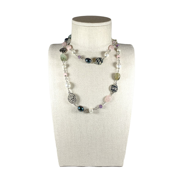 pre-loved Chanel silver pearl necklace with colour stones