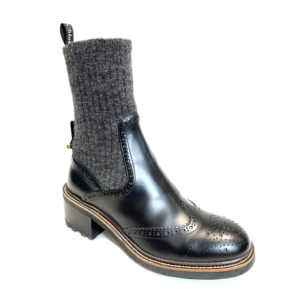used CHLOÉ black knitted sock ankle boots