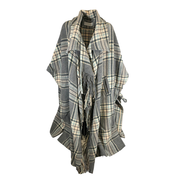 second hand CHLOÉ check grey wool cape