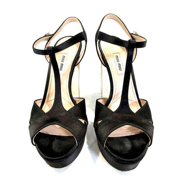 pre-loved Miu Miu black satin heels