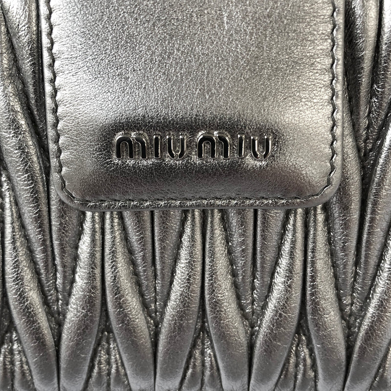 Miu Miu silver quilted mini clutch