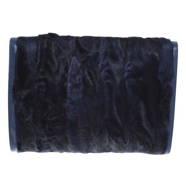 Tod's navy fur clutch with gold hardware