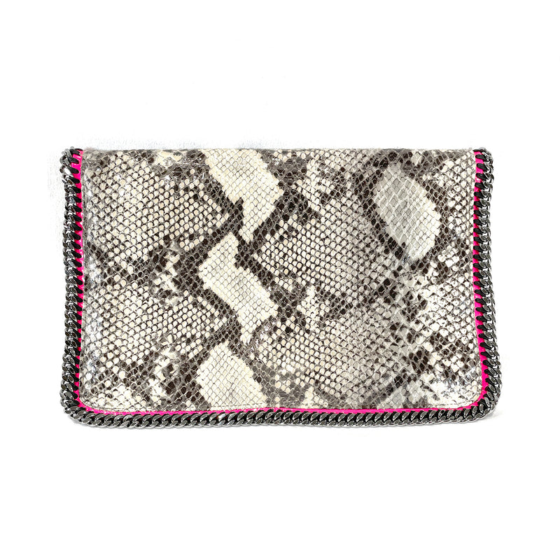Stella McCartney Falabella Faux Python flap clutch