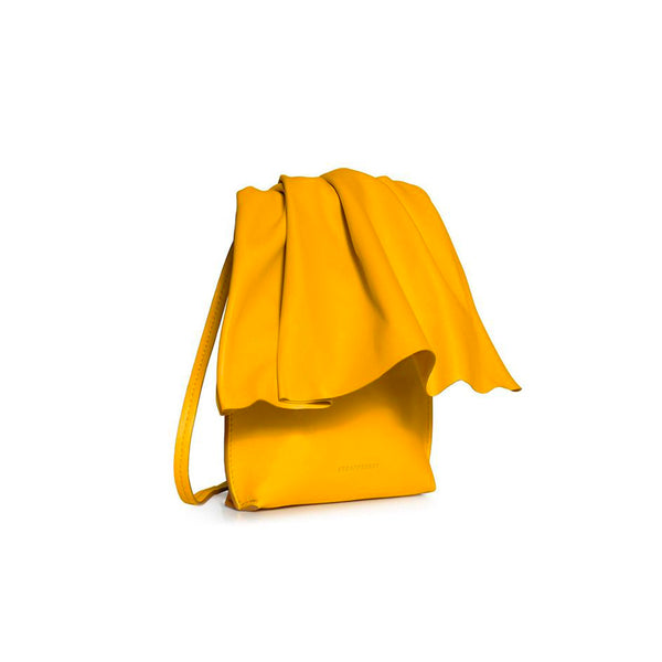 STRATHBERRY mini yellow leather ruffle crossbody bag