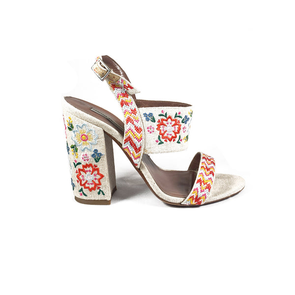 pre-owned Tabitha Simmons embroidered canvas sandals | Size 39