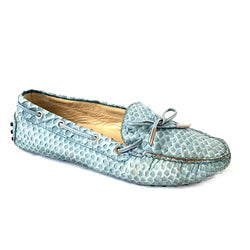 TOD'S sky blue python leather loafers