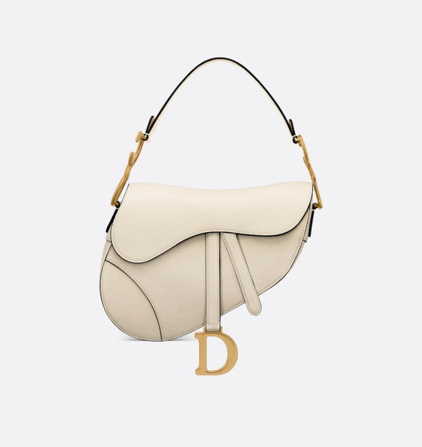 pre-owned Christian Dior SADDLE Latte Grained Calfskin BAG