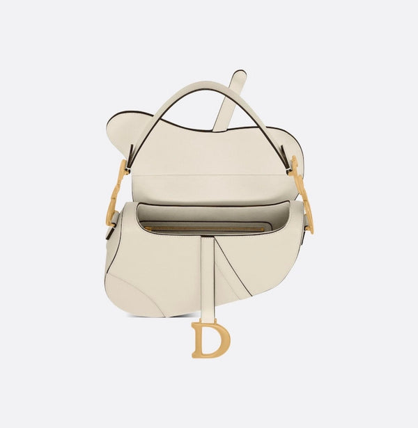 pre-loved Christian Dior SADDLE Latte Grained Calfskin BAG