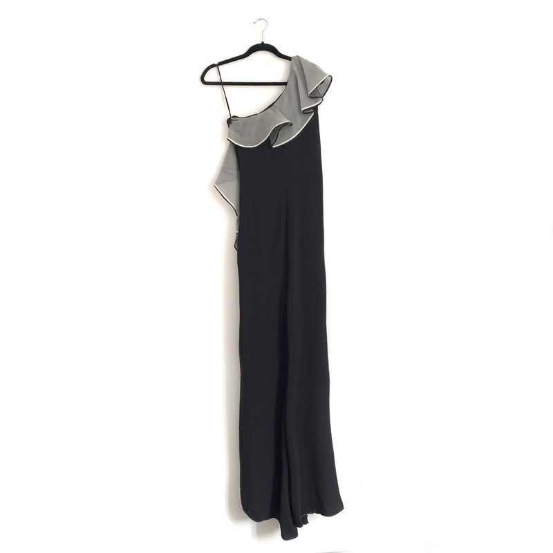 VALENTINO black one-shoulder ruffled gown | size UK8