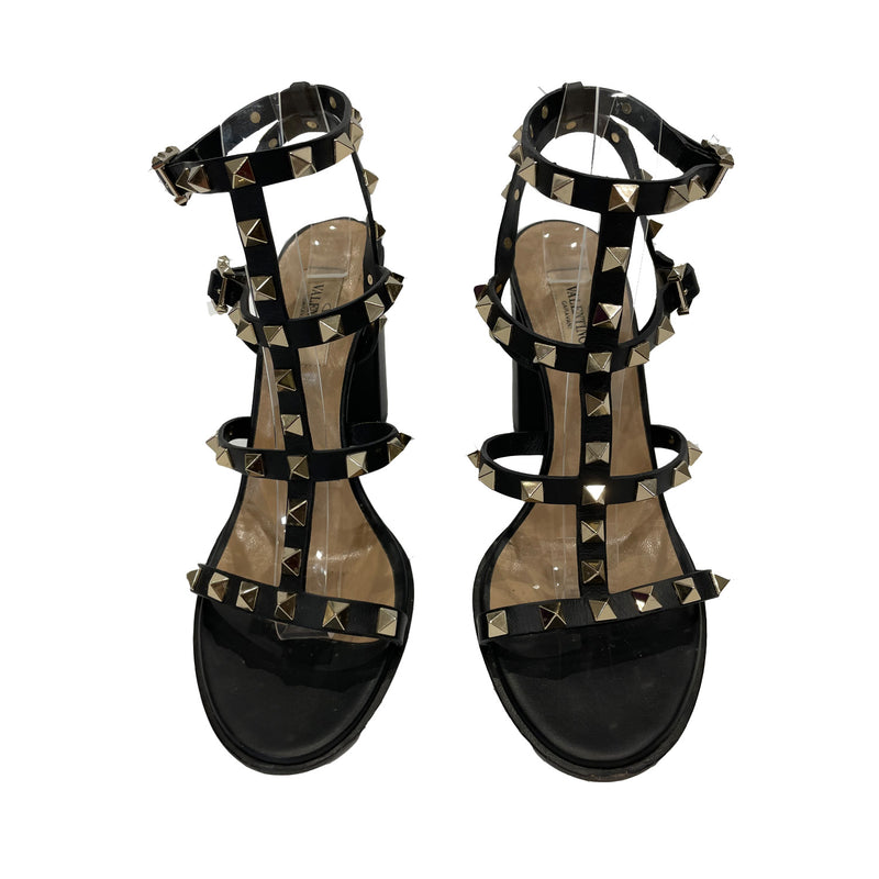 pre-owned VALENTINO ROCKSTUD BLOCK HEELED SANDALS | Size 37.5