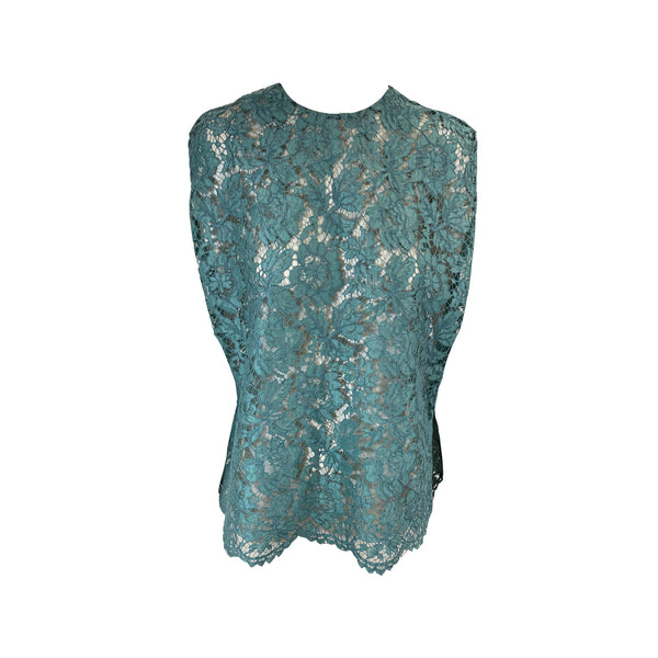 pre-loved Valentino aqua blue loose-fit lace top | Size IT38
