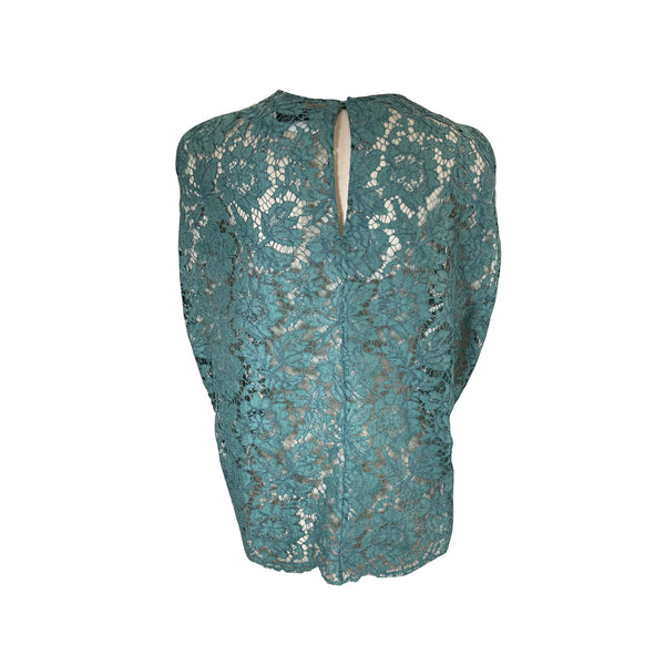 second-hand Valentino aqua blue loose-fit lace top | Size IT38