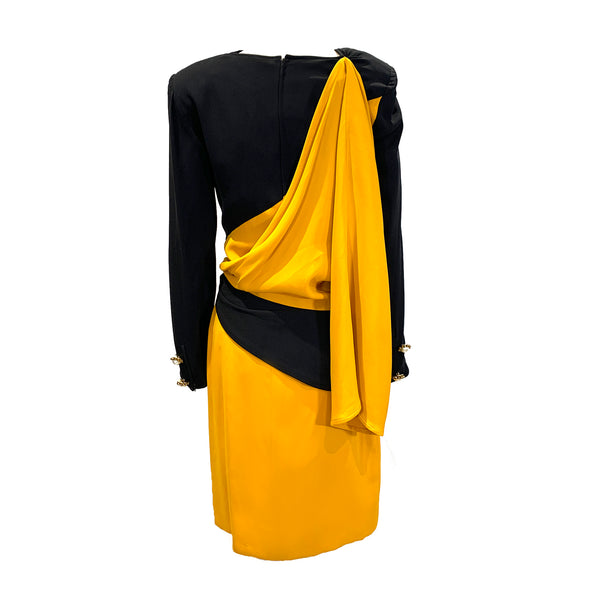 Vintage Valentino black and yellow rushed dress