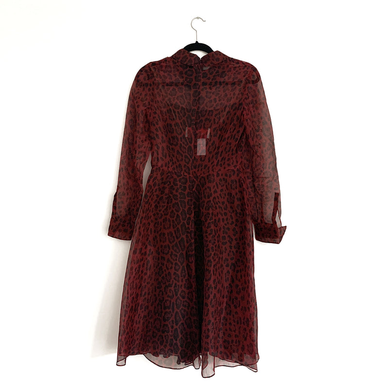VALENTINO burgundy animal print dress | size UK10