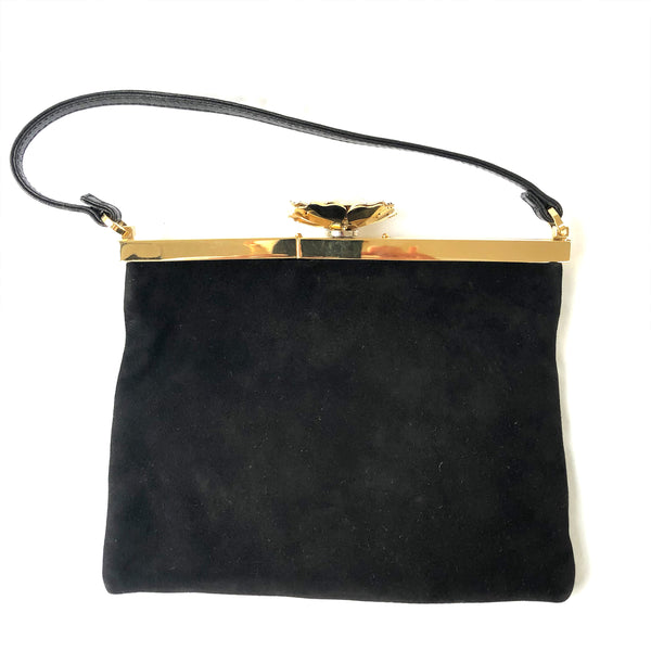 VALENTINO GARAVANI black and gold evening clutch