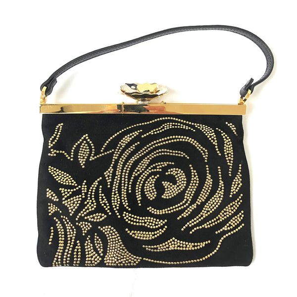 VALENTINO GARAVANI gold rose black clutch