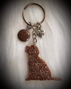 Mini Sitting Golden Retriever Glitter Keychain