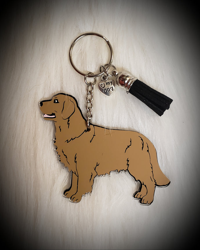 Golden Retriever Acrylic/Vinyl  Keychain