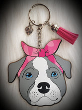 Load image into Gallery viewer, Pitbull w/Bandana Acrylic/Vinyl  Keychain