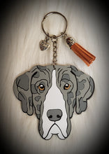 Load image into Gallery viewer, Great Dane Uncropped Ears Acrylic/Vinyl  Keychain