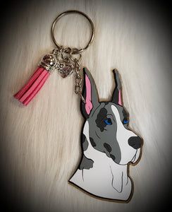 Great Dane Cropped Ears Acrylic/Vinyl  Keychain