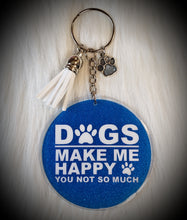 Load image into Gallery viewer, Circle (medium) Dogs Make Me Happy Acrylic/Vinyl Keychain