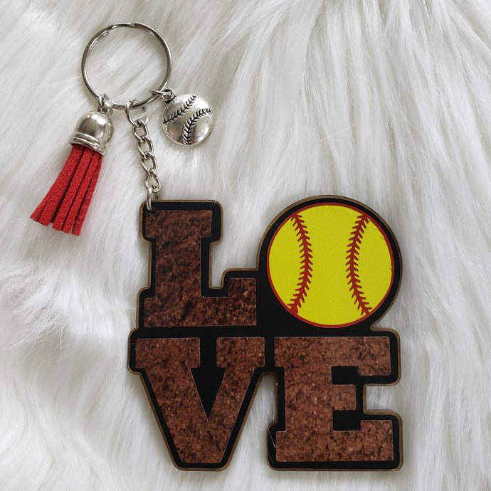 LOVE Softball Acrylic/Vinyl  Keychain