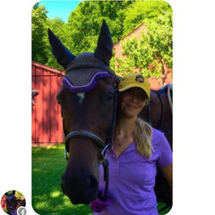 Equestrianista customer wearing her Equestrianista Baseball Cap in Yellow and Navy after her schooling ride.