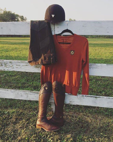 Fall Equestrian Riding Sweater in Autumn Maple by Equestrianista paired with Mountain Horse Sovereign Field Boots and GhoDho Breeches in Military.